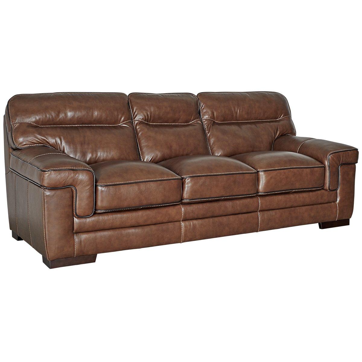 Alexander Medium Brown Leather Sofa View Larger