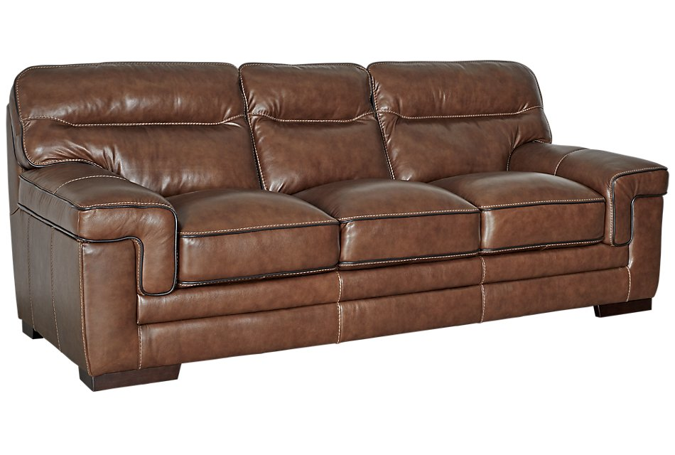 Alexander Medium Brown Leather Sofa Living Room Sofas