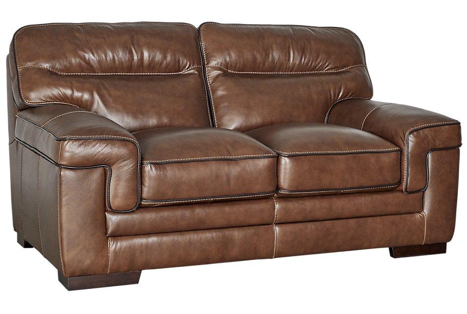 Alexander Medium Brown  Leather Loveseat