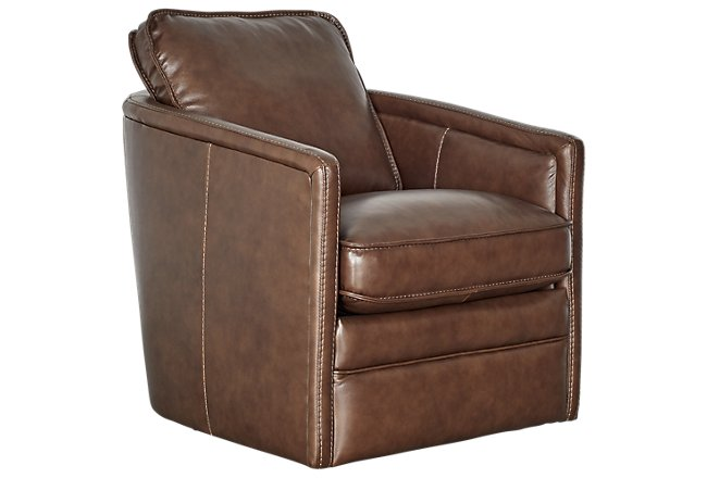 Alexander Medium Brown Leather Swivel Chair