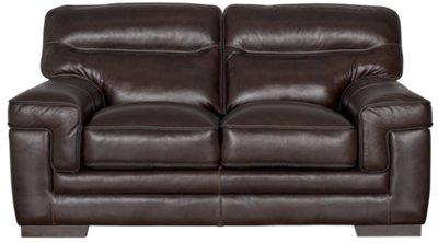 Alexander Dark Brown Leather Loveseat