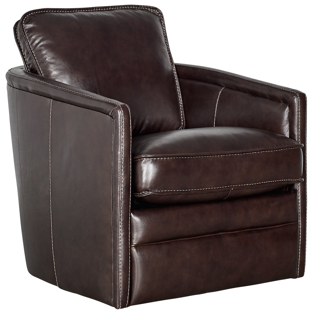 Alexander Dark Brown Leather Swivel Chair | Living Room - Chairs ...