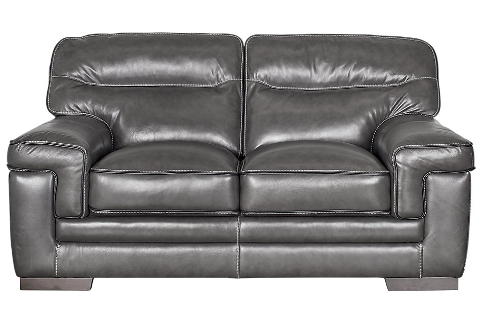 Alexander Gray Leather Loveseat