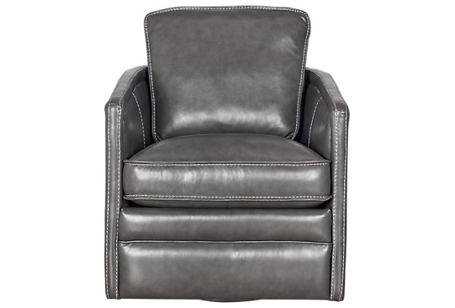 Alexander Gray Leather Swivel Chair