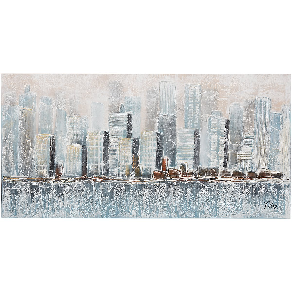 Cityscape Light Blue Canvas Wall Art