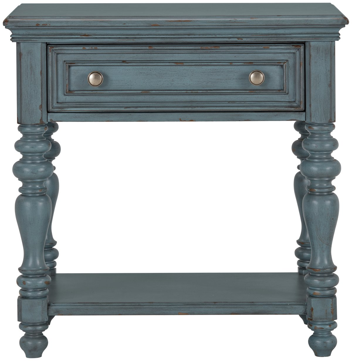 Savannah Teal Wood 1-drawer Nightstand