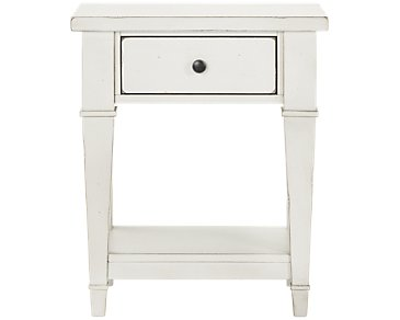 Stoney White 1-Drawer Nightstand