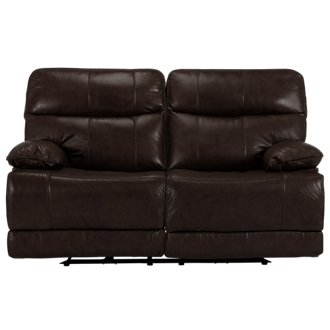 Liam Dark Brown Leather & Vinyl Reclining Loveseat