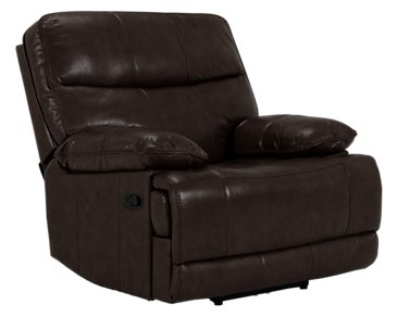 Liam Dark Brown Leather & Vinyl Recliner