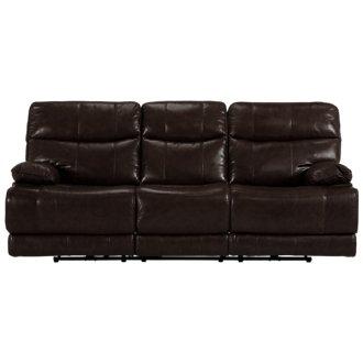 Liam Dark Brown Leather & Vinyl Power Reclining Sofa