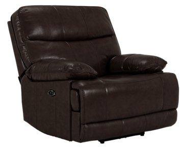 Liam Dark Brown Leather & Vinyl Power Recliner