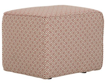Poppy Orange Fabric Accent Pouf