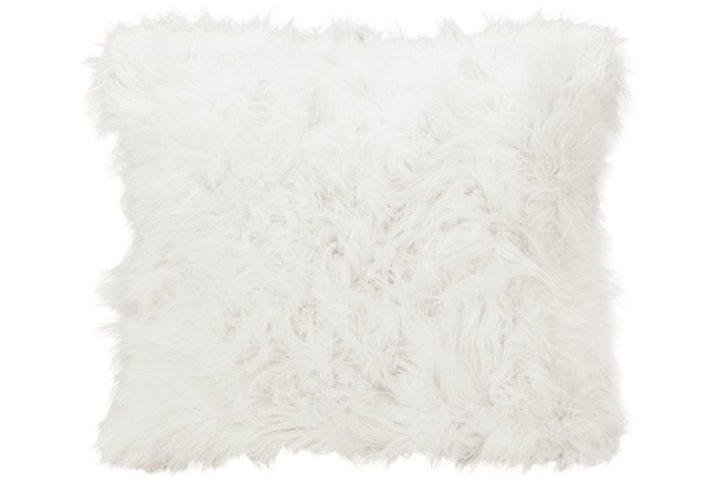 Shag2 White Square Accent Pillow