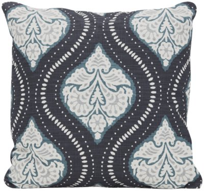 Kavali Dark Blue Fabric Square Accent Pillow