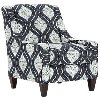 Kavali Dark Blue Fabric Accent Chair