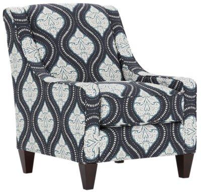 Kavali Dark Blue Fabric Accent Chair