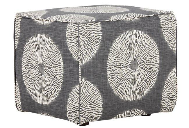 Shibori Gray Fabric Accent Pouf