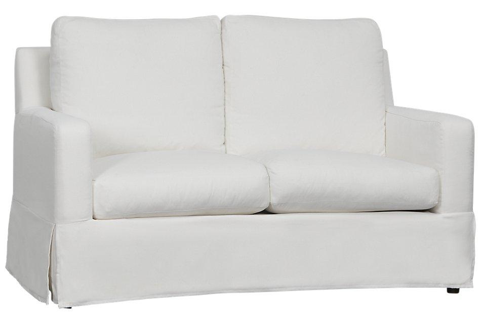 Bree White Fabric Loveseat