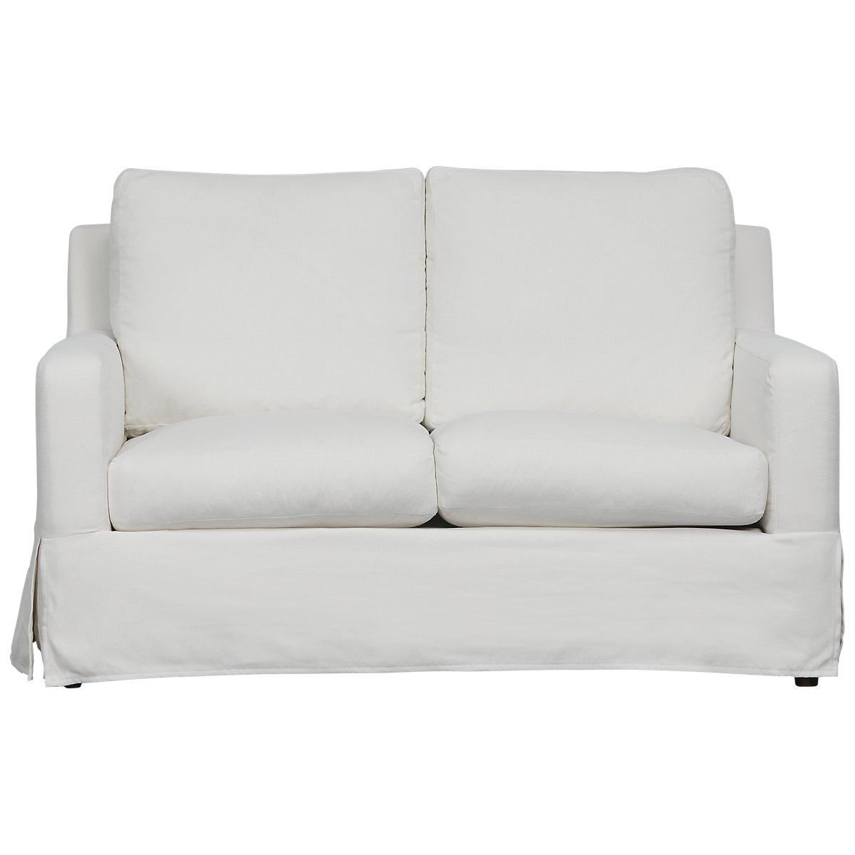 City Furniture Bree White Fabric Loveseat