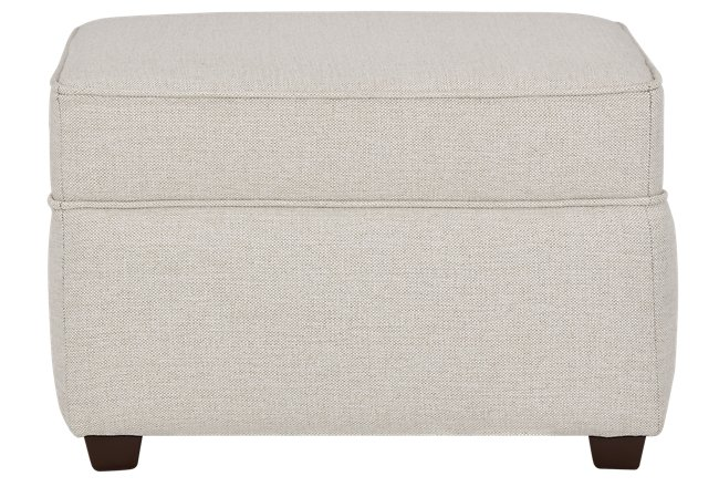 Asheville Light Taupe Fabric Ottoman