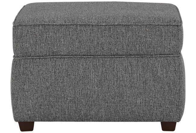 Asheville Gray Fabric Ottoman