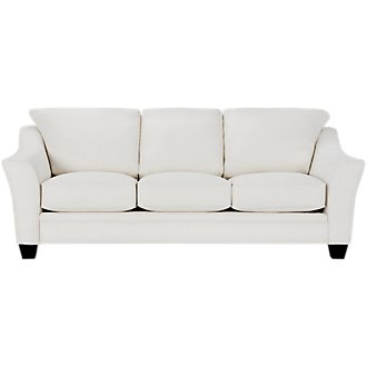 Avery White Fabric Sofa