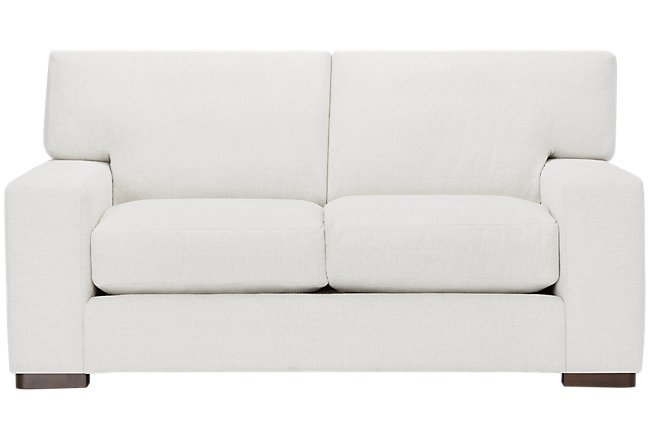 Veronica White Fabric Loveseat