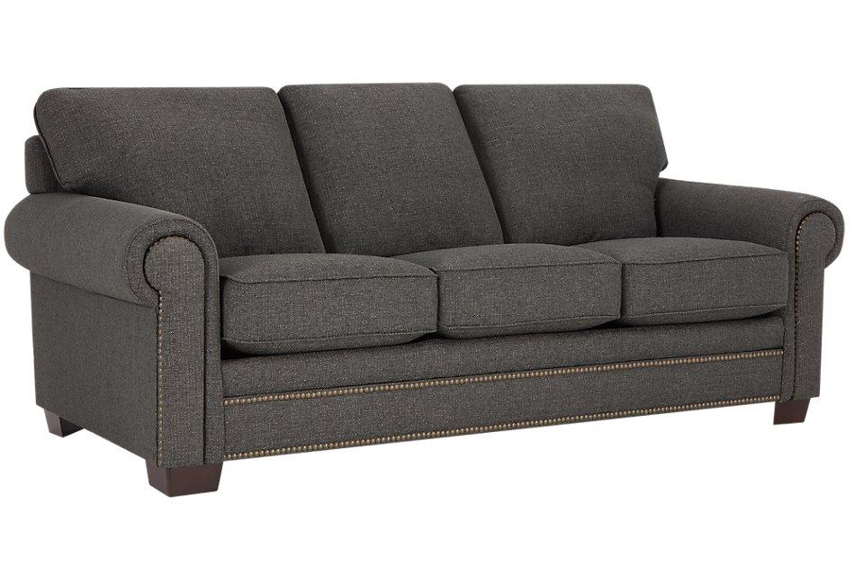 Foster Dark Brown Fabric Sofa | Living Room - Sofas | City ...