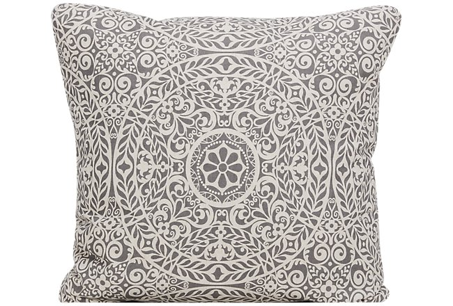 Tachenda Gray Fabric Square Accent Pillow