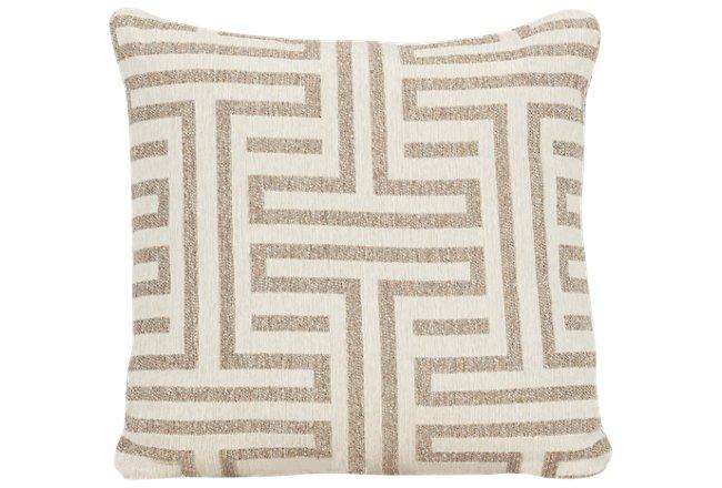 Doric Beige Fabric Square Accent Pillow