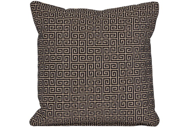 Keys Black Fabric Square Accent Pillow