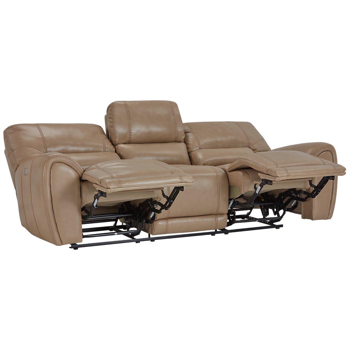 Bailey Taupe Microfiber Power Reclining Sofa