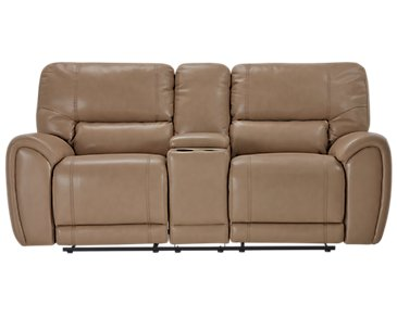 Bailey Taupe Microfiber Power Reclining Console Loveseat