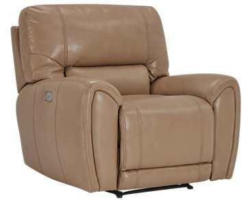 Bailey Taupe Microfiber Power Recliner with Power Headrest