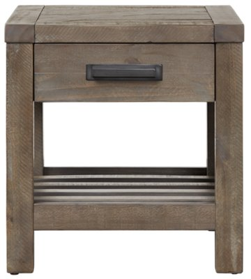 Taryn Gray Wood Square End Table ...