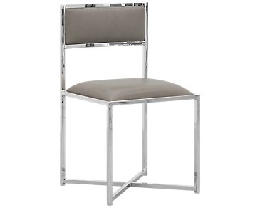 Amalfi Taupe Stainless Steel Side Chair