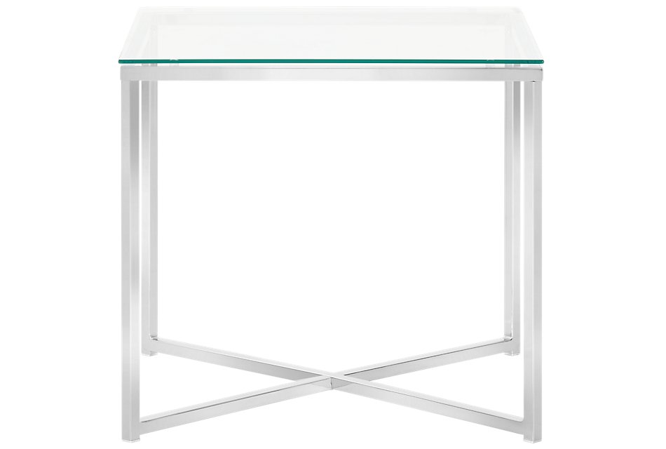 Kross Glass Clear Square End Table | Living Room - End ...