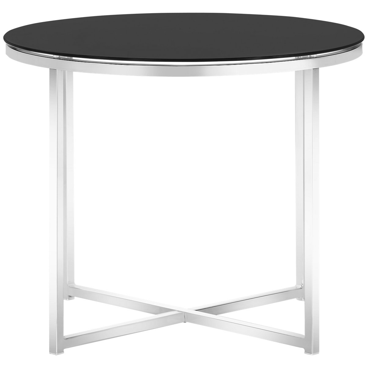 City furniture kross black glass round end table for Black round end table