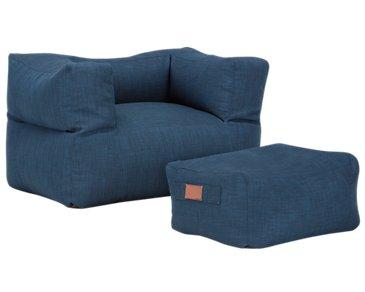 Cube Blue Chair & Ottoman