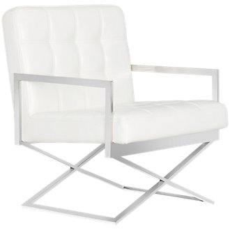 Stark White Upholstered Accent Chair