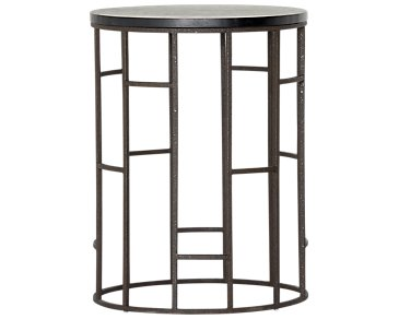 Velika Black Large Round End Table