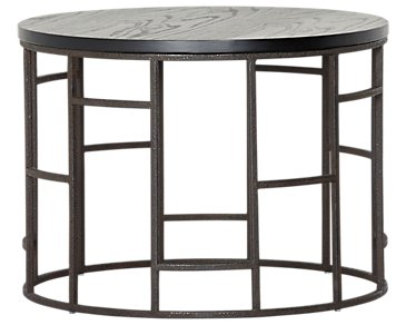 Velika Black Medium Round End Table