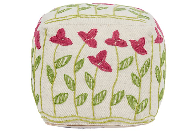 Weisse Multicolored Wool Accent Pouf