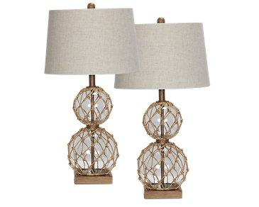 Coastal Glass Set Of 2 Table Lamp