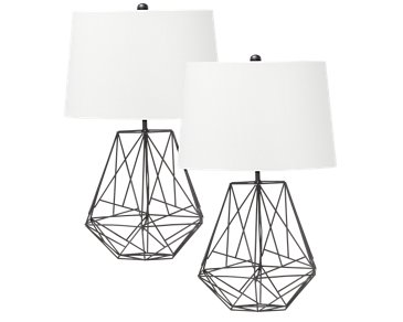 Cage Black Set Of 2 Table Lamp