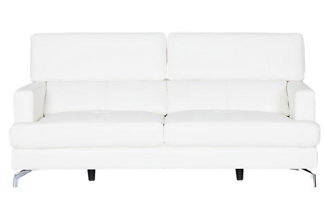 Marquez White Microfiber Sofa