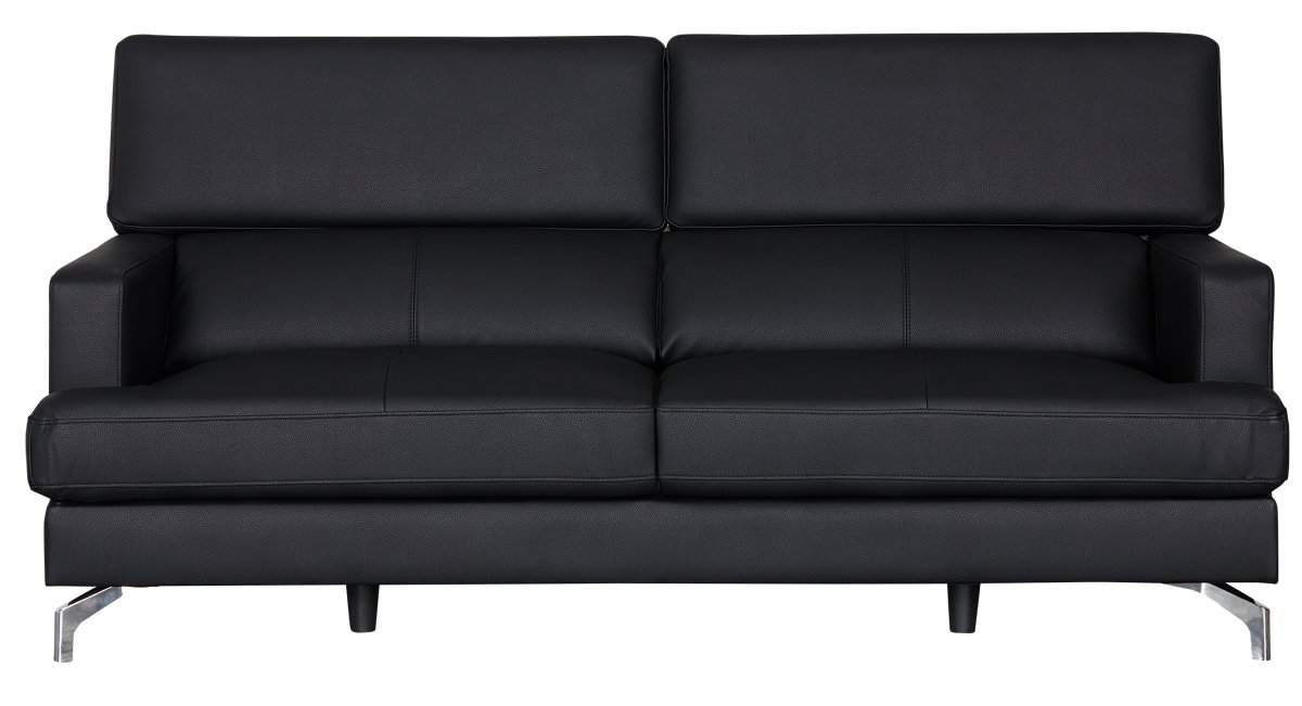 Black Microfiber Sofa Microfiber Faux Leather Contemporary