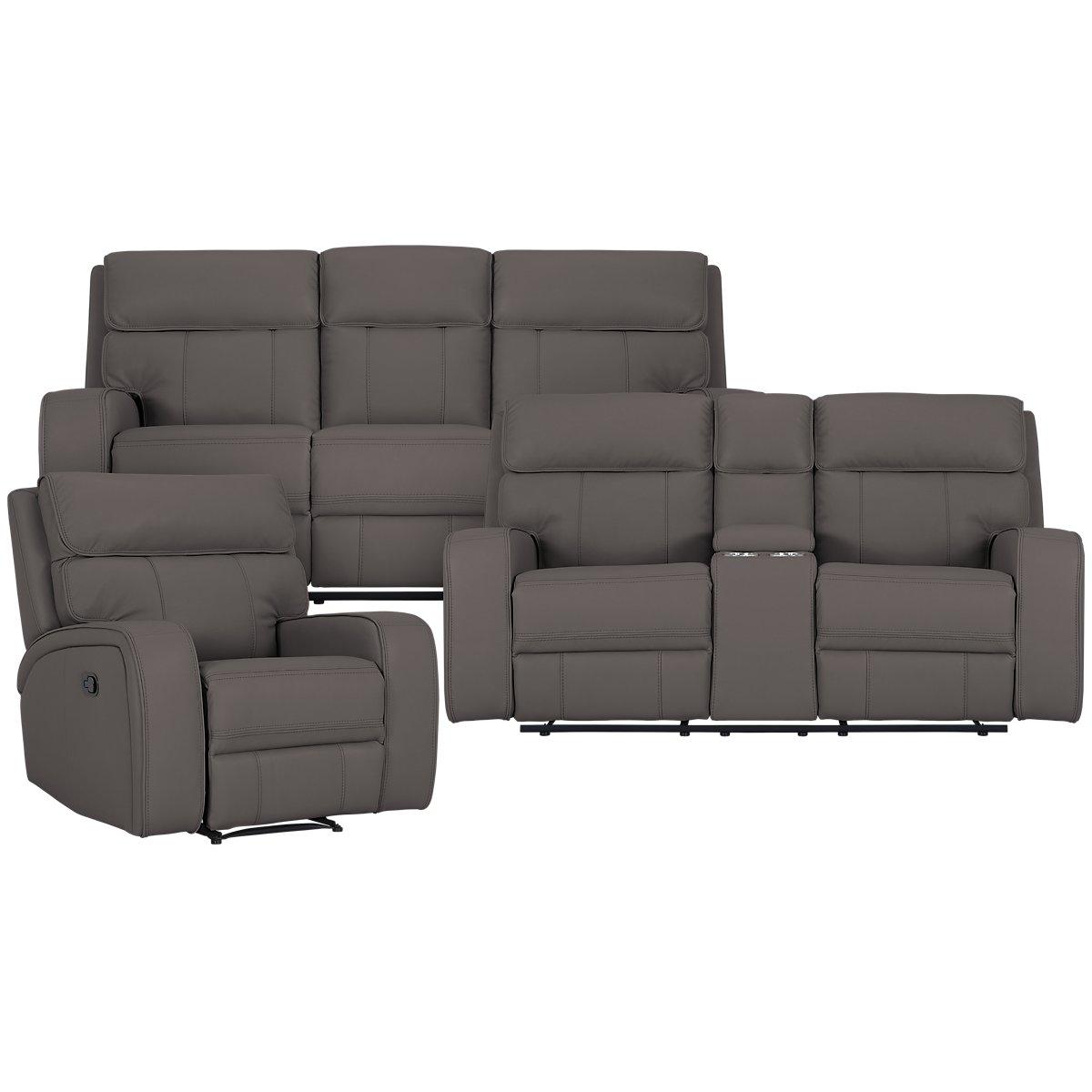 Rhett Gray Microfiber Manually Reclining Living Room