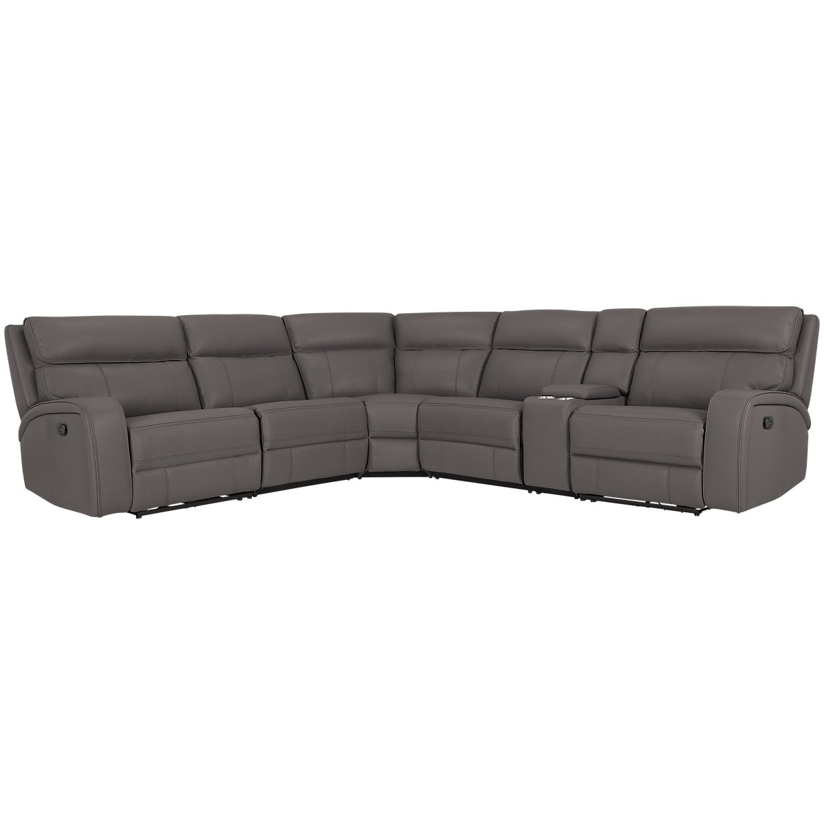 Rhett Gray Microfiber Small Two Arm Manually Reclining Sectional
