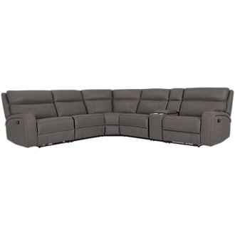 Rhett Gray Microfiber Small Two-Arm Manually Reclining Sectional